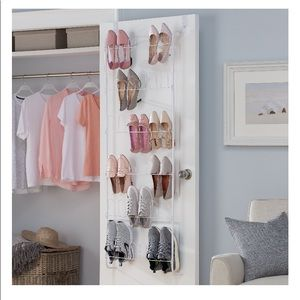 White door shoe rack holds 18 pairs of shoes